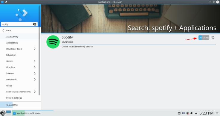 instalando spotify